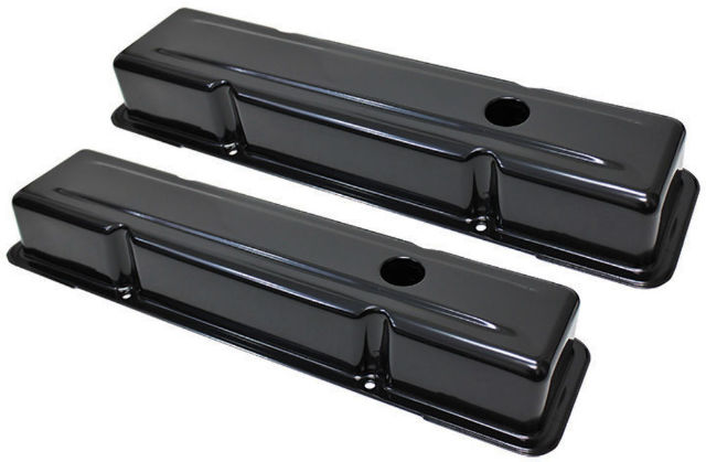 Chevy SB SBC V8 Short Black Valve Covers 1958-1986 283 327 350 400