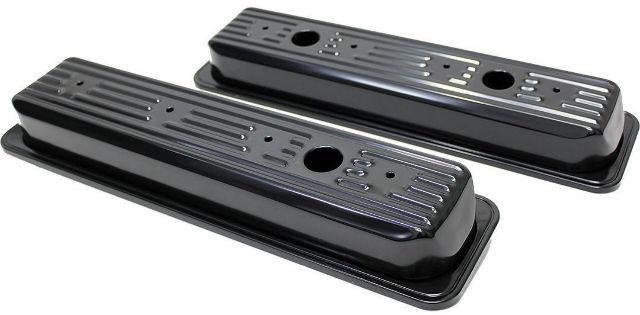 Chevy SB SBC V8 Short Black Valve Covers Centerbolt 5.0L-5.7L 1987-1999