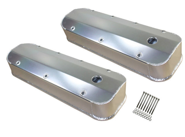 Chevy BBC V8 Long Bolt Fabricated Aluminum Baffled Valve Covers 396-427-454-502