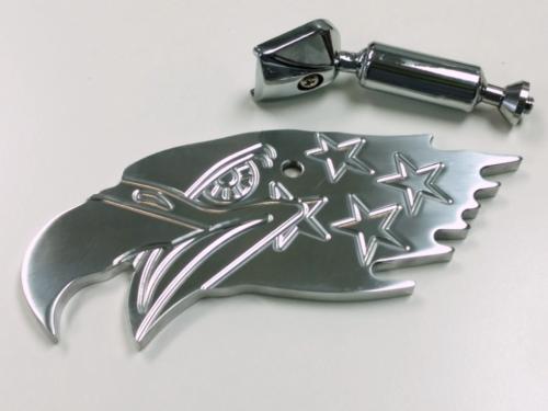 Polished Aluminum American Eagle Interior Rear View Mirror - Hot Rat Street Rod