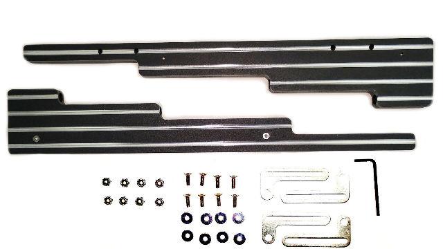 Ball Milled Black 2-Tone Aluminum Spark Plug Wire Looms Holders SBC BBC 302 350