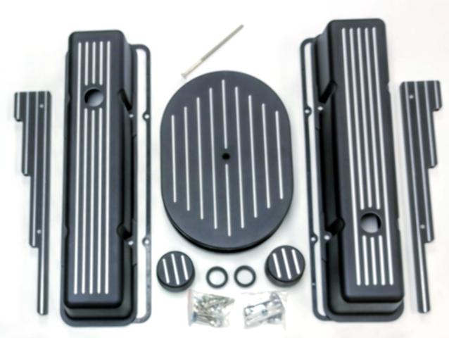 Chevy SBC Tall Black Ball Milled Aluminum Engine Dress Up Kit Hot Rat Street Rod