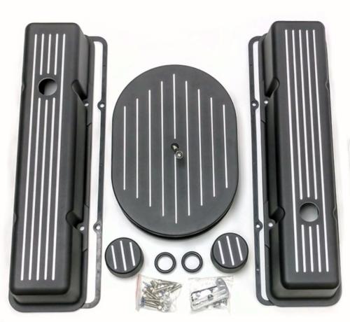 SBC Chevy Tall Black Ball Milled Aluminum Engine Dress Up Kit Hot Rat Street Rod