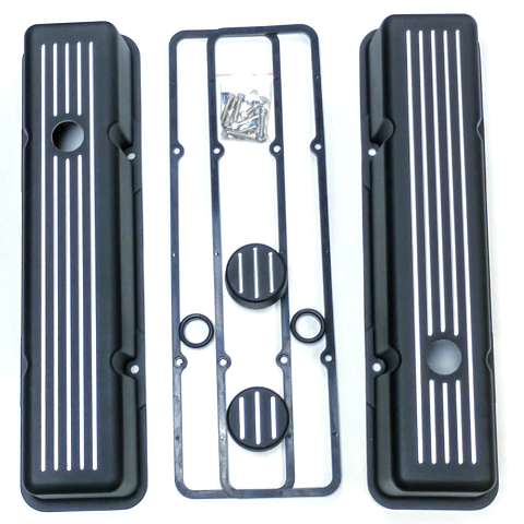 SBC Chevy Tall Black Ball Milled Aluminum Valve Cover Breather Kit Hot Rat Stree