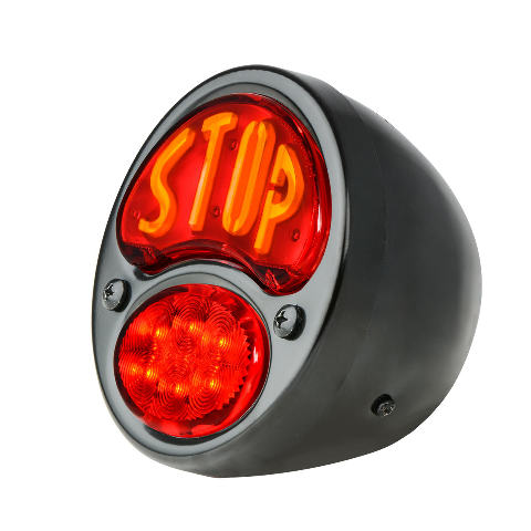 "LED ""STOP"" Script 1928-'31 Tail Light, Black Housing, Right/Without License Lite"