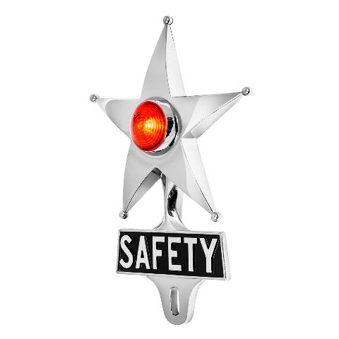 Hot Rod Red LED Jewel Lighted Chrome Safety Star Vintage Style License Plate Top