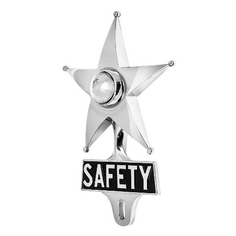 Hot Rod White LED Jewel Lighted Chrome Safety Star Vintage Style License Plate T