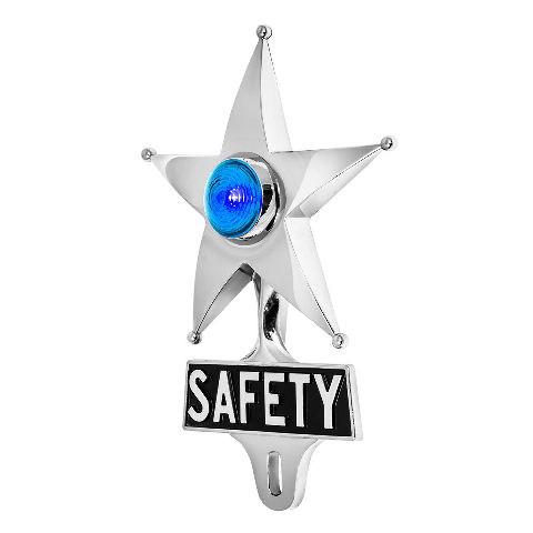 Hot Rod Blue LED Jewel Lighted Chrome Safety Star Vintage Style License Plate To