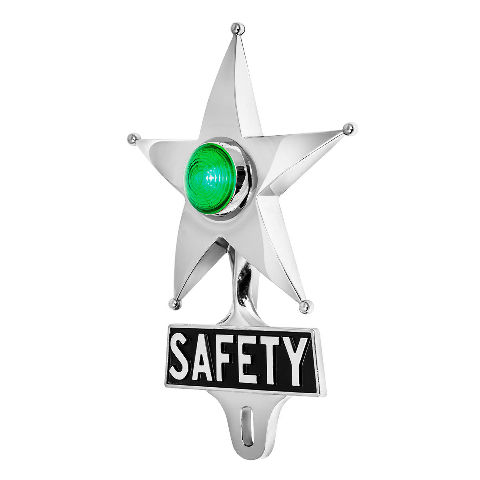 Hot Rod Green LED Jewel Lighted Chrome Safety Star Vintage Style License Plate T
