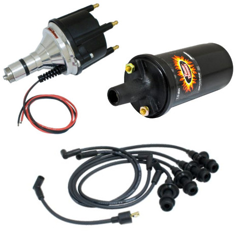 Flame-Thrower Distributor W/ Electronic Ignition, Black Screamer Kit by Petronix