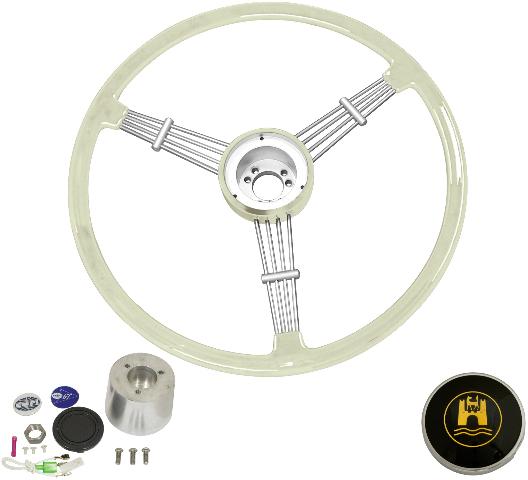 """""""Banjo"""" Style, Silver/Grey Vintage Steering Wheel Kit w/ Boss 3-Bolt 40 Spline Mount Kit, Fits Type 1/Ghia 60-74 1/2, Type 3 61-71"""