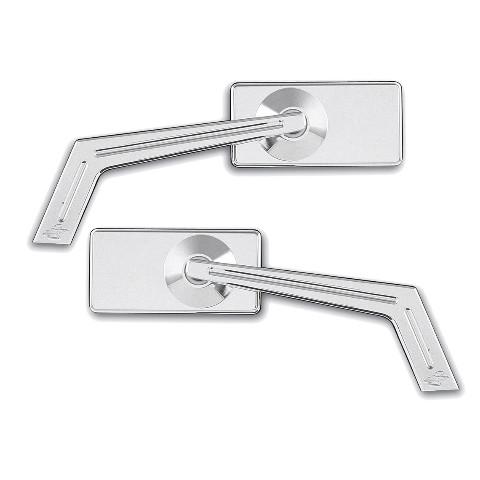 Smooth Chrome Rectangle Weekend Warrior Mirror w/ Ball Milled Stem, Pair  - For Metric Cruisers
