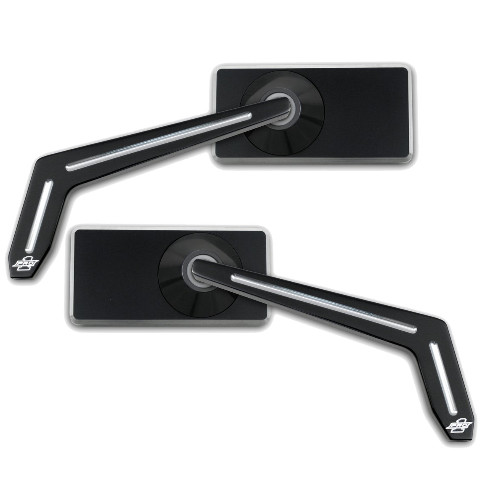 Smooth Black Rectangle Weekend Warrior Mirror w/ Ball Milled Stem, Pair  - For Metric Cruisers