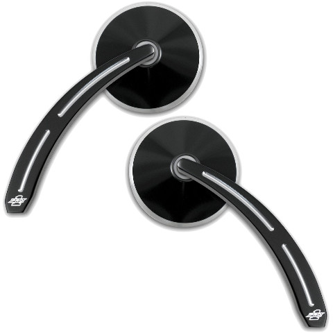 Smooth Black Round Mirror with Teardrop Ball Milled Stem, Pair - For Metric Cruisers