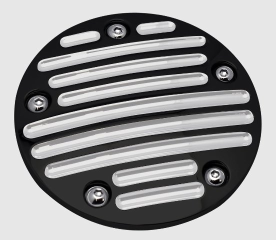 Point Cover, 5-Hole, Millennium, Ball Milled, Black, Twin Cam, 99-2017