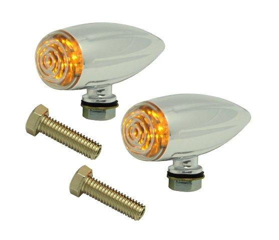 Universal Marker Light, Chrome Bullet, Ball-Milled, LED Pair For ATV, Motorcycles, Hot Rods