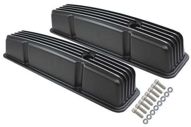 1958-86 SBC Chevy Black Aluminum Finned Valve Covers Set w Hole Tall 283-350