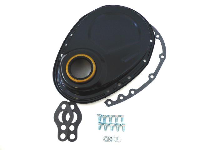 Black SBC Chevy 283-350 Timing Chain Cover Kit
