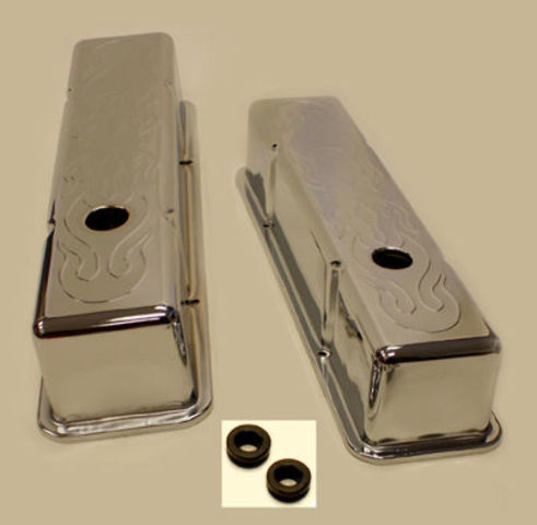 SMALL BLOCK CHEVY TALL FLAME VALVE COVERS 283 350