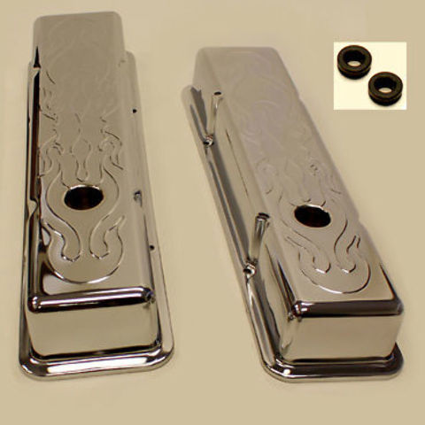 SMALL BLOCK CHEVY SHORT FLAME VALVE COVERS 283 350
