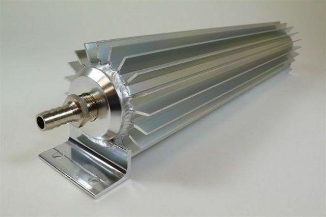 "Satin Aluminum Finned ""Single Pass"" Transmission Cooler - 15"""
