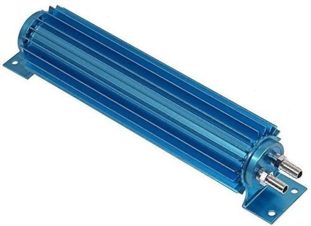 """Blue Aluminum Finned """"Dual Pass"""" Transmission Cooler - 15"""""""