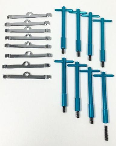 Blue Anodized Aluminum V8 Valve Cover T-Bar W/ Chrome Valve Spreaders Set Of 8