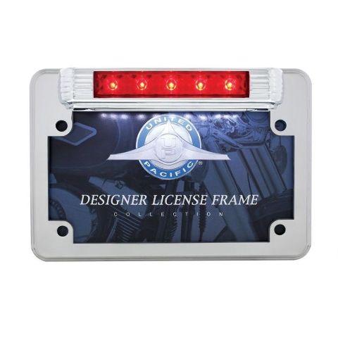 LED Motorcycle License Plate Frame - Deluxe Vintage Design - 3rd Brake Light