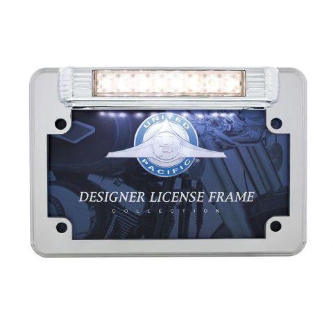 LED Motorcycle License Plate Frame - Deluxe Vintage Design - Back-Up Light