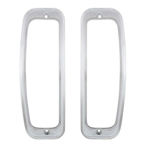 Billet Aluminum Tail Light Bezels For 1966-77 Ford Bronco - Clear Anodized