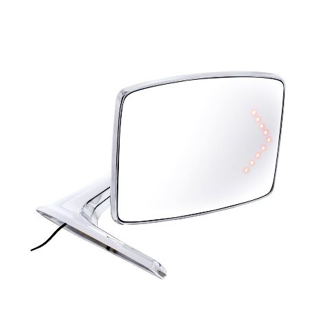 Chrome Exterior Mirror w/ Convex & LED, R/H, Fits Ford 1966-77 Bronco, Truck