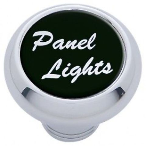 "Chrome Aluminum ""panel lights"" Dash Knob with Black Aluminum Sticker"