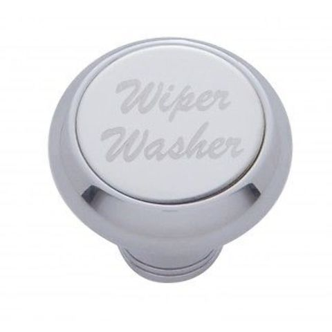 """Chrome Aluminum """"Wiper/Washer"""" Dash Knob With Stainless Steel Plaque"""