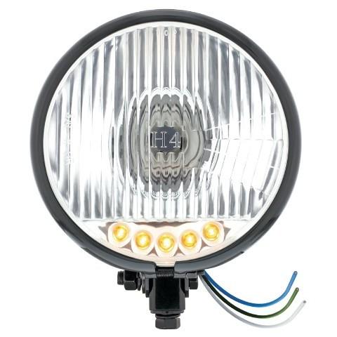 """Black 5 3/4"""" Bottom Mount Crystal Headlight & 5 Amber LED Position Light"""
