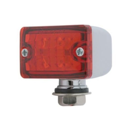 4 Red LED Small Rectangular Chrome Rod Light w/ Red Lens - 12V - Hot Rat Rod