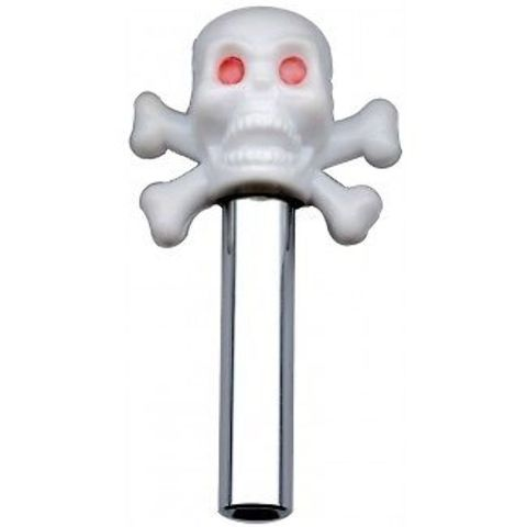 Hot Rod White Skull Door Lock Pulls with Chrome Tube 2 Piece Set