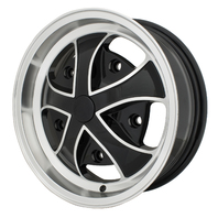 Rebel Wheel Gloss Black w/ Polished Lip & Ribs 15X5.5, 5X205 - EMPI 10-1120