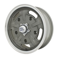 Corsa Wheel Gun Metal Grey w/ Polished Lip 15X5.5, 5X205 - VW Bug EMPI 10-1121