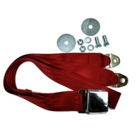 "Red Universal 72"" Lap Seat Belt w/ Hardware Chrome Latch Hot Rod Classic"