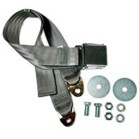 "Grey Universal 72"" Lap Seat Belt w/ Hardware Chrome Latch Hot Rod Classic"
