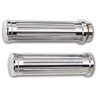 Billet Grips, Ball Milled, Chrome, Pair, Yamaha/Kawasaki/Suzuki Cruisers