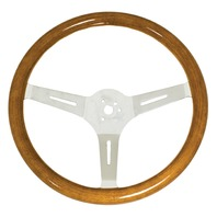 "Classic Wood Steering Wheel, 380mm/31mm Grip, 3"" Dish, Compatible with VW Bug Ghia"