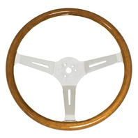 "VW Bug Ghia EMPI Classic Wood Steering Wheel, 380mm Diametr w/23mm Grip,3"" Dish"