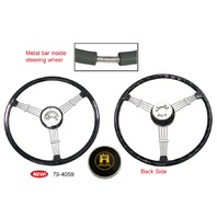 """Banjo"" Style Vintage Steering Wheel Kit, Black"