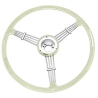 """Banjo"" Style Vintage Steering Wheel Kit, Silver / Grey"