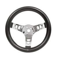 EMPI Steering Wheel, CHROME 3-SPOKE,10 DIA, 5-1/2 DISH VW BUG BAJA BUGGY
