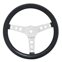 EMPI Steering Wheel, CHROME 3-SPOKE,12-1/2 DIA, 3-1/2 DISH VW BUG BAJA BUGGY