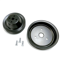 SB Chevy Short Water Pump Black Steel 2 Groove Pulley Kit 283 327 350 V8
