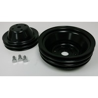 SBC Long Water Pump Black Steel Double/Triple Groove Pulley Kit 283-350 V8