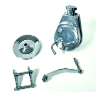 Power Steering Pump W/ Bracket & Chrome Pulley, Chrome Saginaw Style, Fits Chevy  SBC